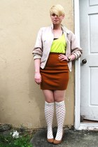 beige vintage Sir Jac jacket - white H&M socks - chartreuse neon Forever21 top