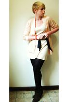 pink J Crew cardigan - beige American Apparel dress - black H&M belt - black For