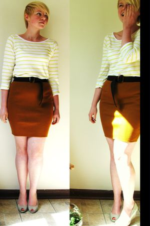 black American Apparel pants - yellow H&M shirt - gold Goodwill shoes - brown be