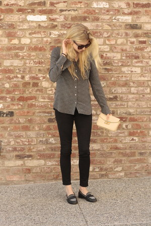 black denim J Brand pants - charcoal gray silk Aritzia shirt