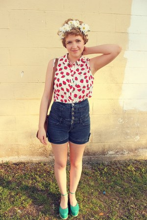strawberry Forever 21 blouse - blue platforms modcloth shoes