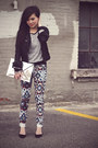 Black-cropped-waxed-zara-jacket-heather-gray-contrast-knit-forever-21-sweater