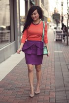 purple bow front mini asos skirt - orange cropped Forever 21 sweater