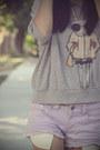 Light-purple-distressed-hot-forever-21-shorts-heather-gray-print-fifi-lapin-ju