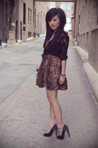 brown leopard print romwe dress - black lace Urban Outfitters blouse