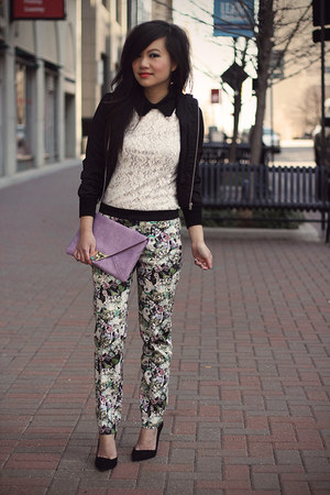 light purple floral print Zara pants - black silk bomber Forever 21 jacket