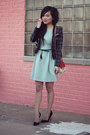 Black-romwe-blazer-aquamarine-crossover-back-zara-dress-red-asos-purse
