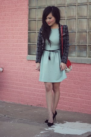 black romwe blazer - aquamarine crossover back Zara dress - red asos purse