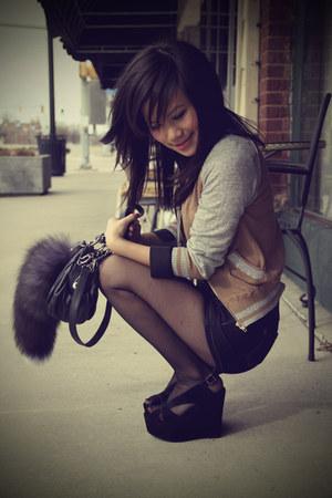 camel varsity asos jacket - navy high waist asos shorts - black lace Urban Outfi