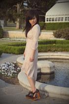 light pink asos dress - black benched oxford Jeffrey Campbell wedges - black fea