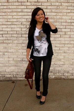 black Urban Outfitters cardigan - white Zara t-shirt - dark gray Forever 21 jean