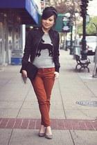 burnt orange cigarette Topshop pants - black satin cropped Zara jacket