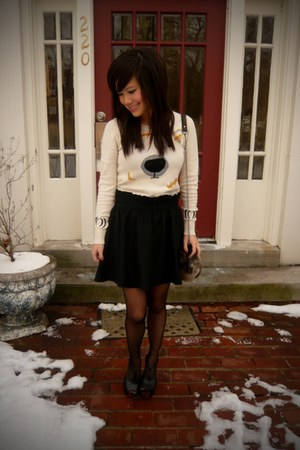eggshell polar bear Urban Outfitters sweater - black sheer H&M tights - brown fa