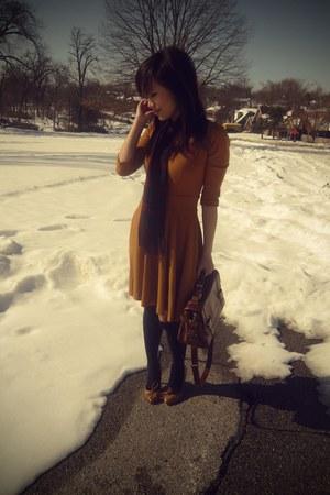mustard asos dress - crimson vintage plaid christian dior scarf - brown satchel