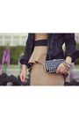 Gold-spiked-forever-21-bracelet-camel-peplum-contrast-forever-21-dress