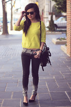 dark gray ombre romwe jeans - yellow Forever 21 sweater