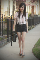 black Urban Outfitters bag - navy high waist asos shorts - black Urban Outfitter