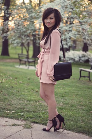 black Zara bag - peach silk Love Label romper - black Zara heels