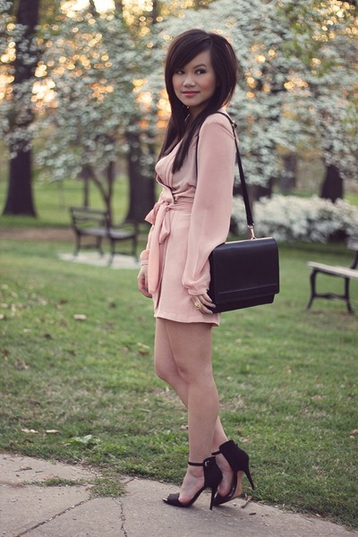 black Zara bag - peach silk Love Label romper - black Zara heels