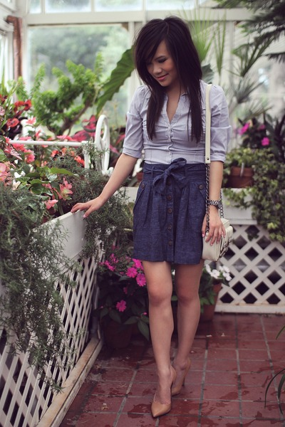 blue chambray Forever 21 skirt - ivory Forever 21 bag