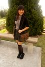 Brown-forever-21-blouse-gray-forever-21-shorts-black-zoo-cardigan-black-h-
