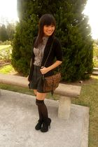 brown Forever 21 blouse - gray Forever 21 shorts - black zoo cardigan - black H&amp;