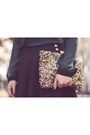 Black-fit-and-flare-forever-21-skirt-gold-sequinned-zara-wallet