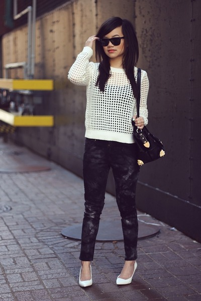 white net Forever 21 sweater - black tie-dye Zara jeans