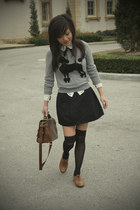 heather gray poodle H&M sweater - brown satchel Zara bag