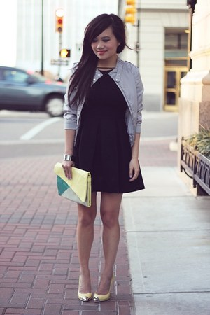 black fit  flare Zara dress - silver silk H&M jacket - light yellow Zara heels