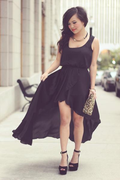 black Love dress - gold collar H&M necklace - gold sequinned Zara wallet