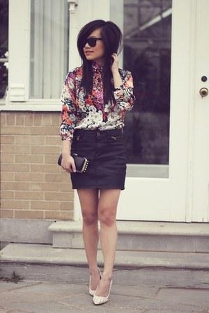 salmon floral print Zara blouse - ivory studded court Zara heels