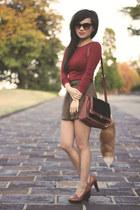 black faux pony hair H&M purse - brown plaid Forever 21 shorts