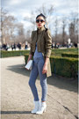 White-unknown-boots-olive-green-unknown-jacket