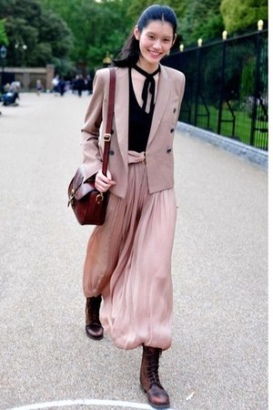 light pink dress - dark brown boots - light pink blazer - maroon bag