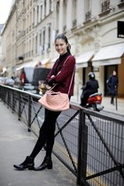 brick red tweed Chanel jacket - black mars boots Rachel Comey shoes