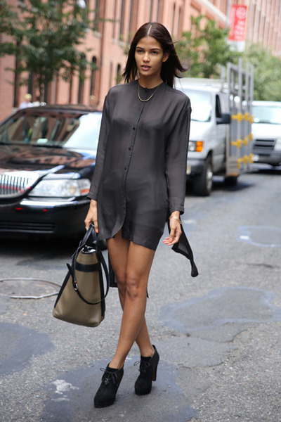 Charcoal gray shirt dresses black shoes sexy silk by for Dark grey shirt dress