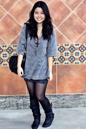 dark gray Forever 21 accessories - black papaya boots - gray cotton on skirt