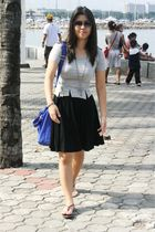black thrifted skirt - gray Tomato top - blue Aldo bag - black f21 necklace
