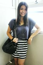 gray DIY top - black thrifted skirt - Forever 21 necklace - black Tomato bag - w