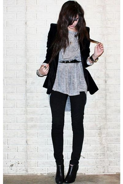 silver H&M top - black booties Steve Madden shoes