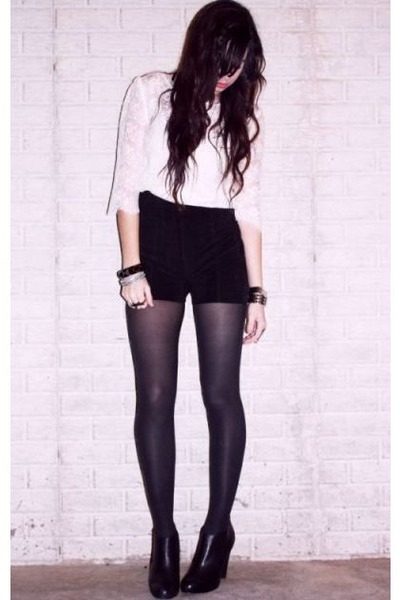 pink H&M cardigan - white Forever 21 blouse - black Secondhand shorts - black Fo