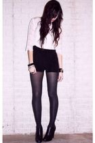 pink oversized H&M cardigan - black bootie Steve Madden shoes