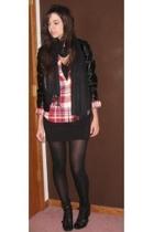 forever 21 jacket - Ralph Lauren shirt - H&M dress - forever 21 scarf - Nine Wes