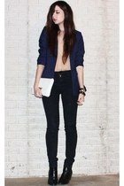 silver cross la dama ring - black H&M boots - black BDG jeans - navy H&M blazer