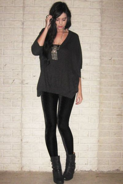 Forever 21 sweater - Ebay leggings - Nine West boots - Forever 21 accessories - 