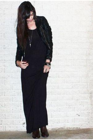 black H&M divided black dress - black H&M divided black jacket - brown asos boot