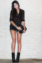 black sheer H&M shirt - black wedge alice  olivia for Payless boots