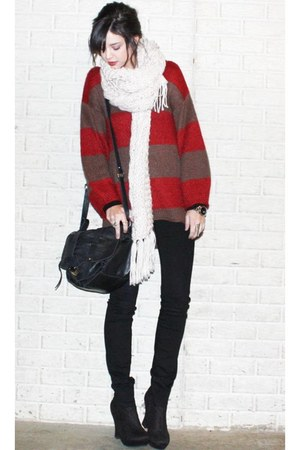 cream chunky knit h&mj scarf - black wedge ankle Forever 21 boots