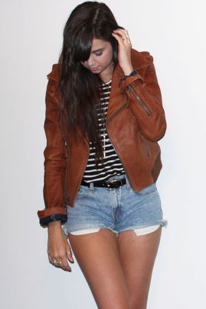 brown leather American Eagle jacket - blue vintage levis shorts - black H&amp;M belt